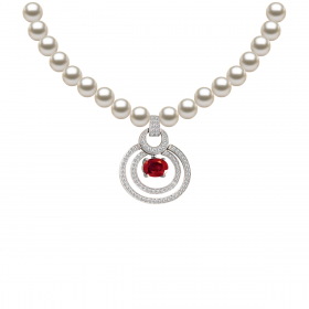 Perla RUBY KIKU DIAMOND Necklace (D0.45)-R(1.070)
