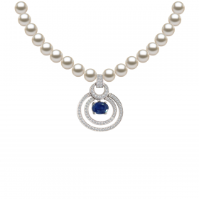 Perla SAPHIRE KIKU DIAMOND Necklace (D0.46)-S(1.130)